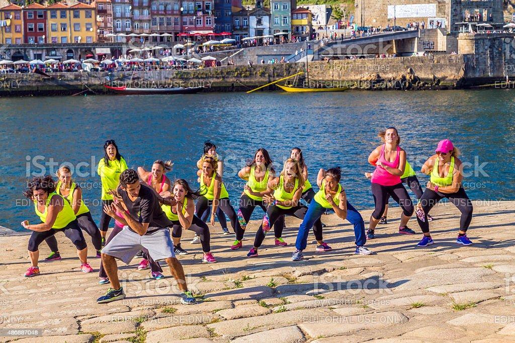 Flashmob dancing in the Ribeira riverside, Porto stock photo
