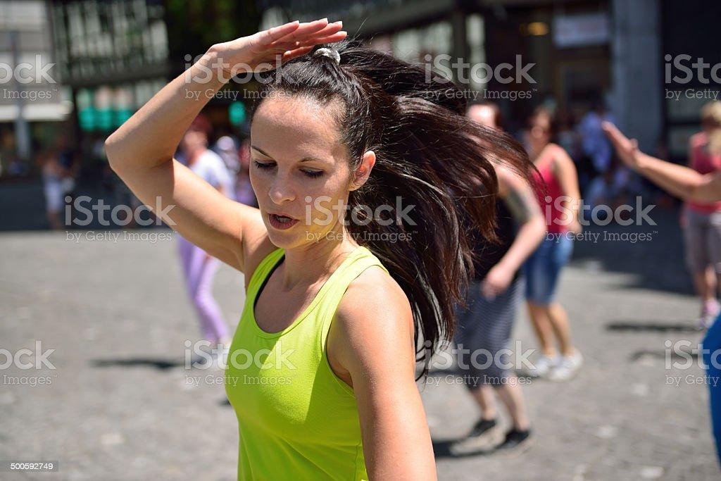 Flashmob on the street stock photo