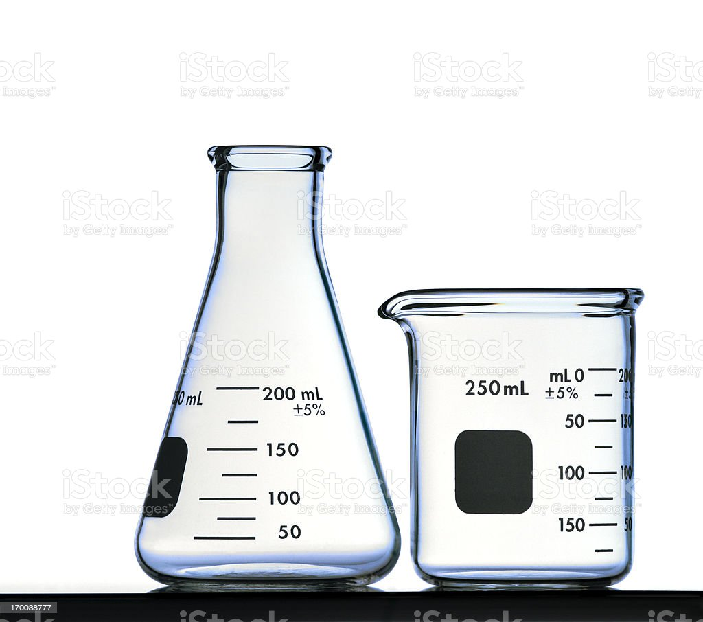 Flask and Beaker Isolated on White with Clipping Path stock photo
