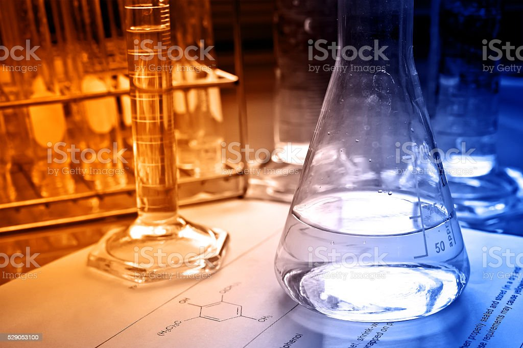 Flask and cylinder stock photo