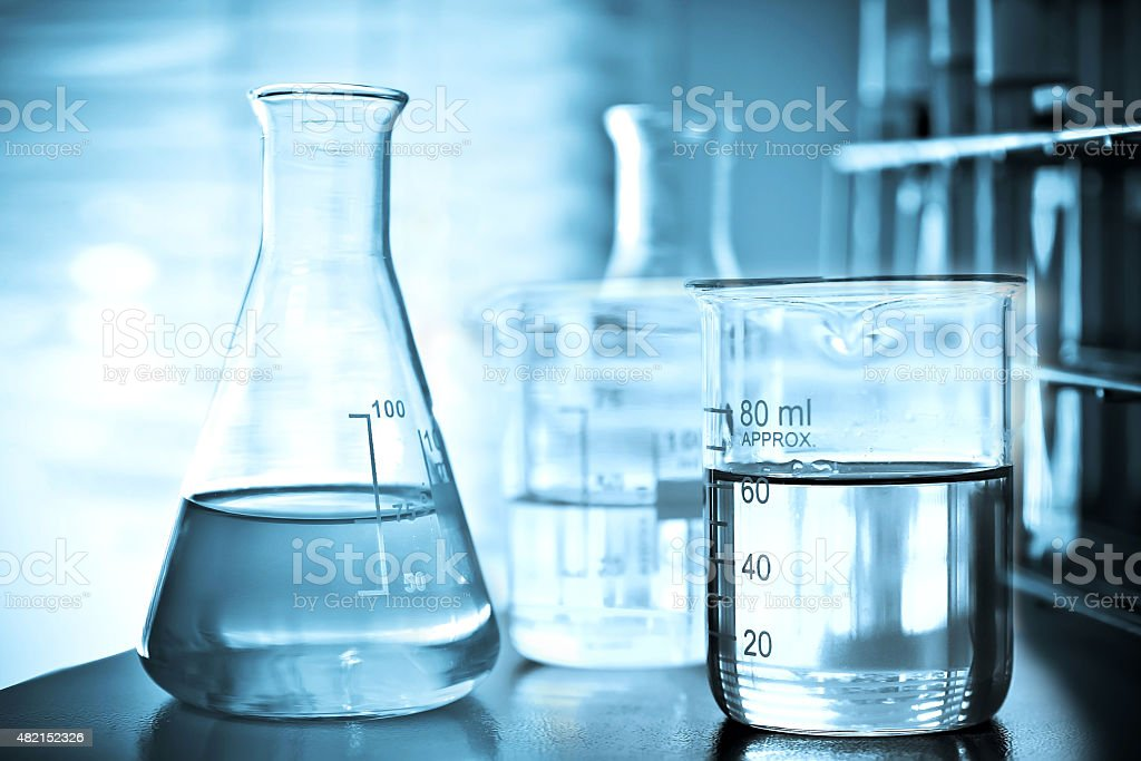 Flask containing chemical liquid stock photo