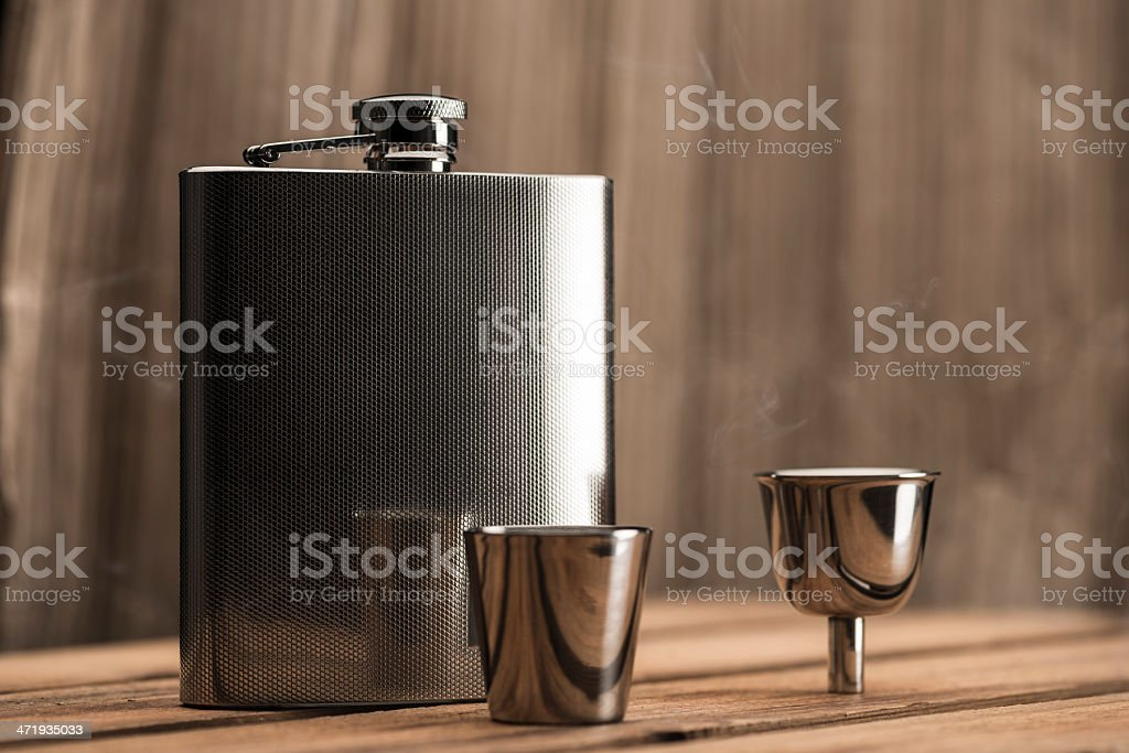 Flask with accessories in studio shoot (XXXLarge) royalty-free stock photo