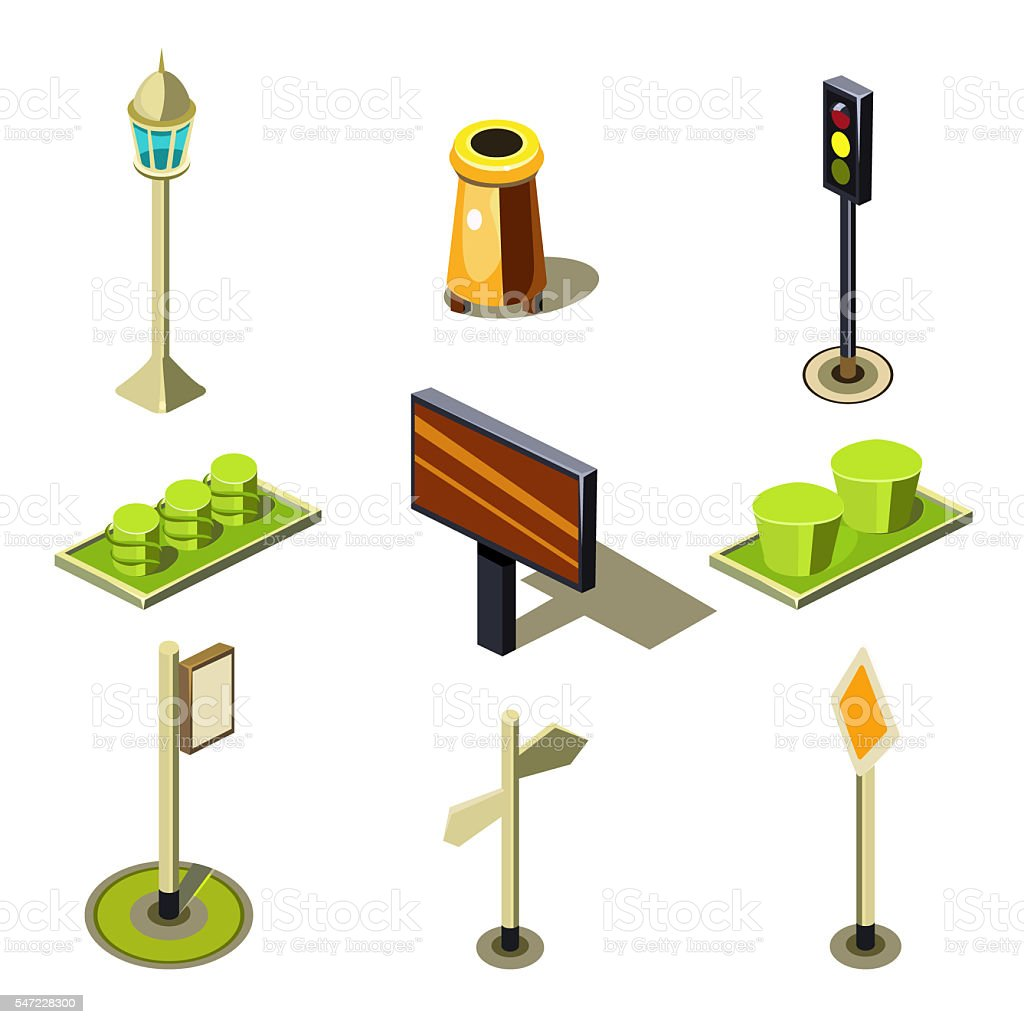 Flat 3d Isometric High Quality City Street Urban Objects Icon stock photo