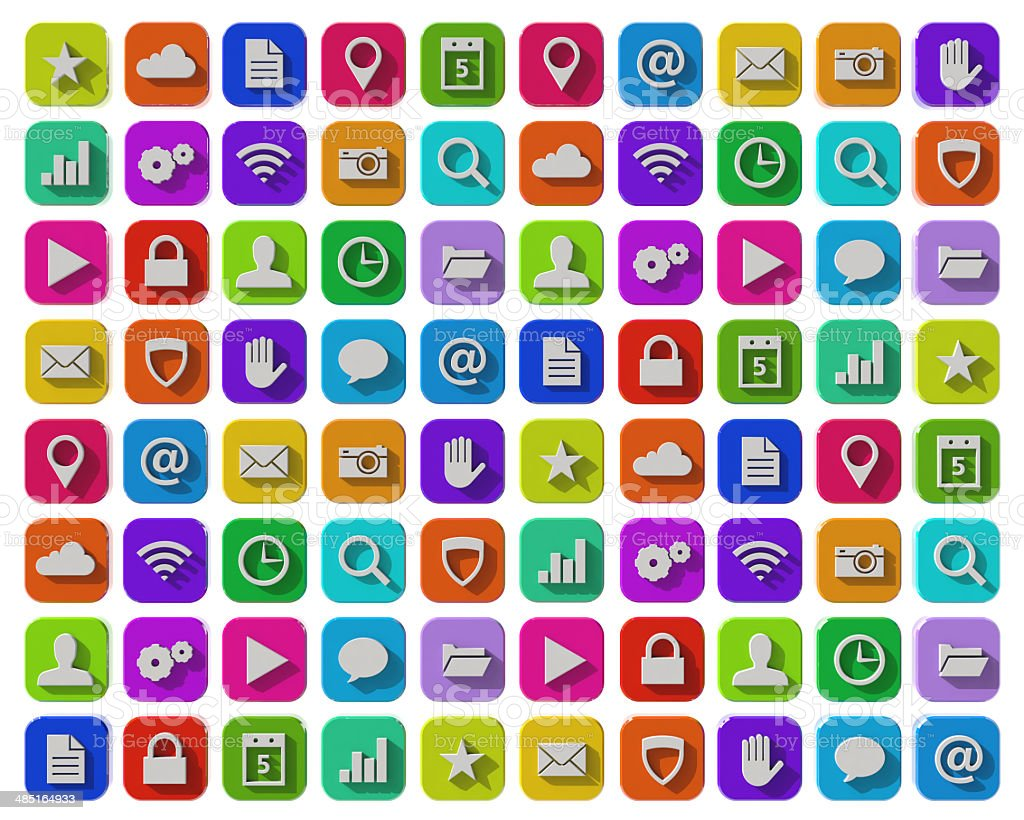 Flat apps icons stock photo