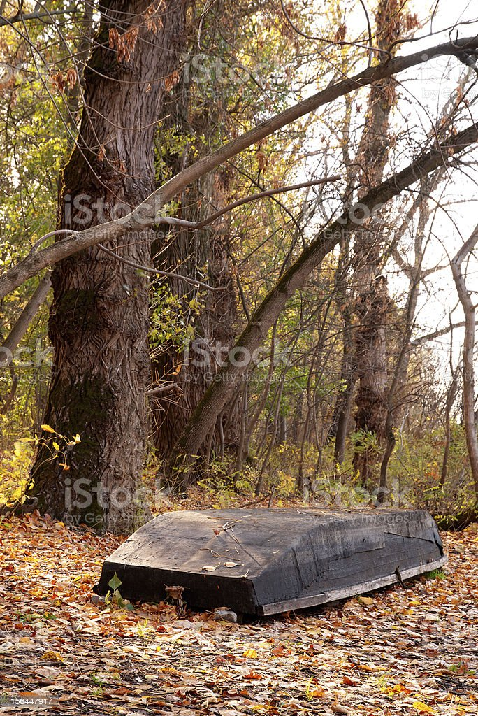 Flat boat in the autumn forest royalty-free stock photo