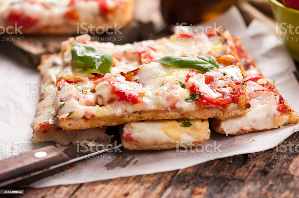 Flat Bread Pizza stock photo