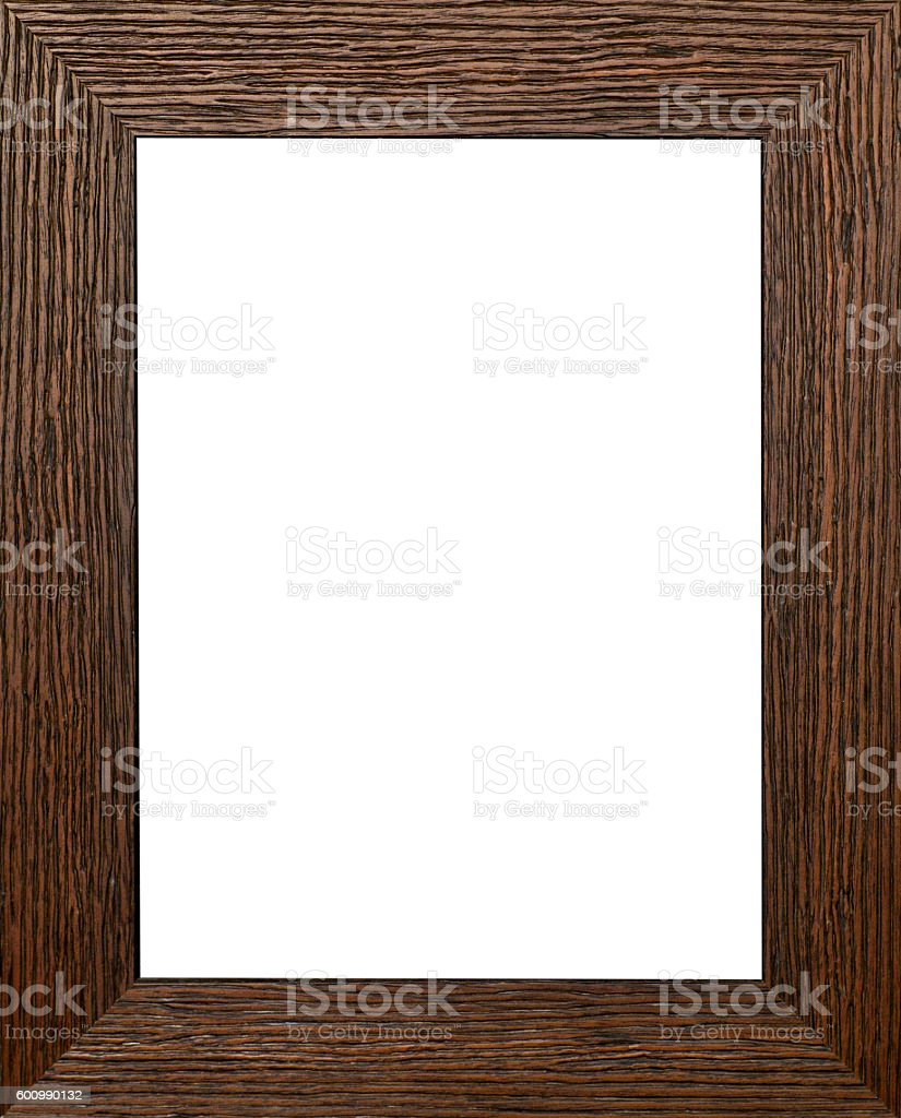 Flat brown wooden vintage picture frame stock photo