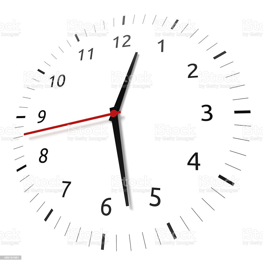 Flat clock on a white wall with functioning handles stock photo