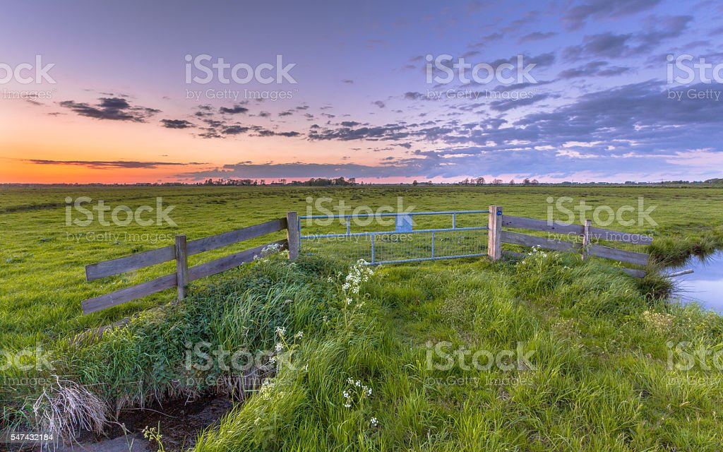 Flat country sunset stock photo