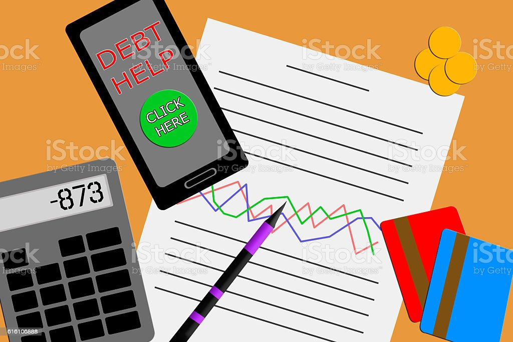Flat design view of a desktop showing a financial report stock photo