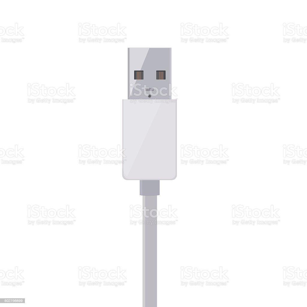 Flat Design White USB Cable stock photo