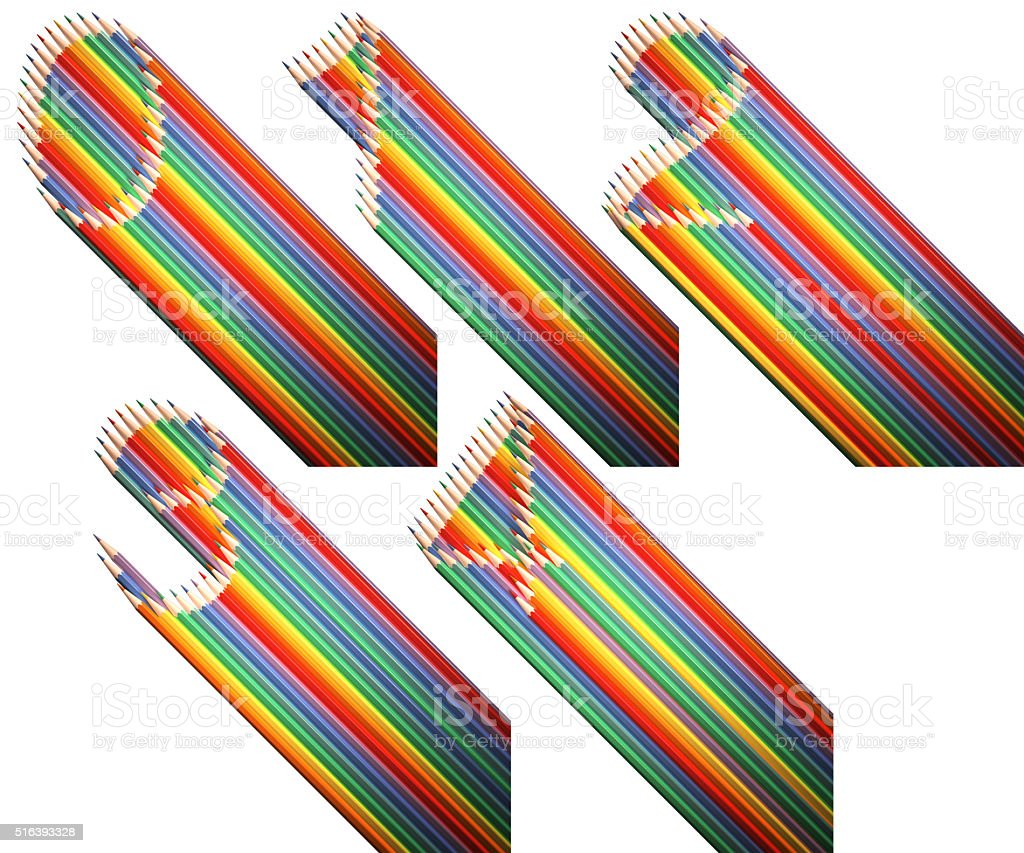flat digit with long shadow is made of pencils stock photo