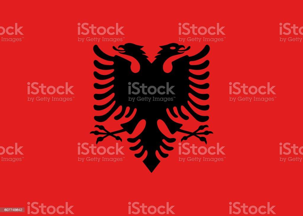 Flat Flag of Albania stock photo
