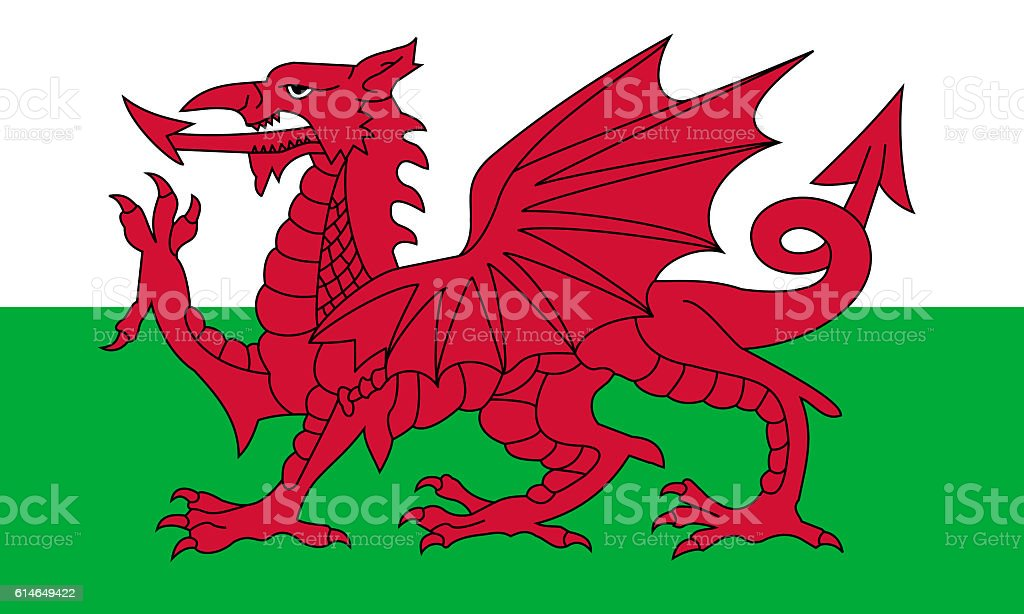 Flat Flag of Wales stock photo