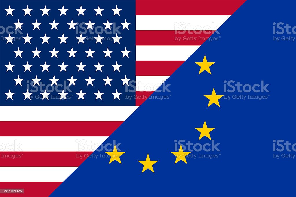 Flat flag - USA - EU stock photo