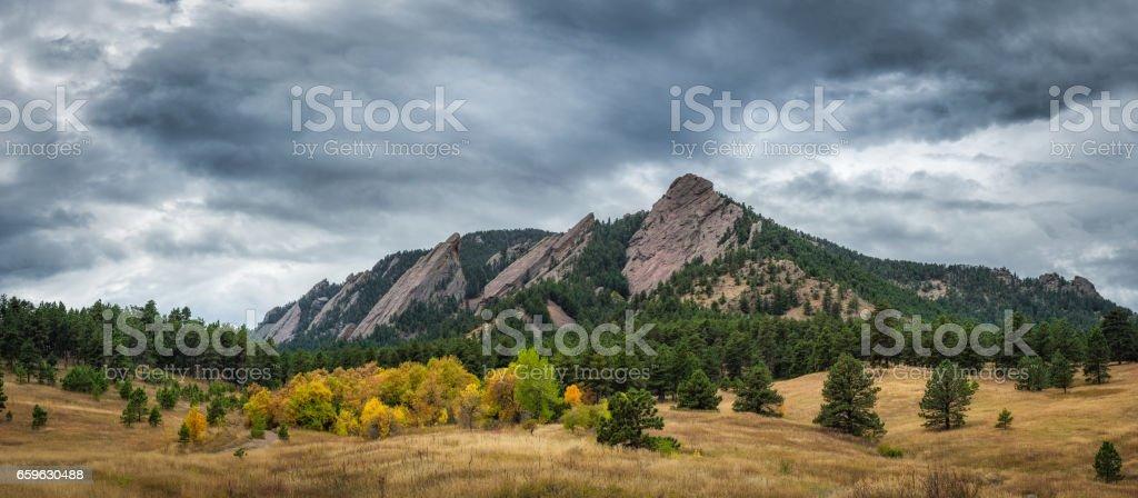 Flat Iron Mountain in autumn panorama stock photo