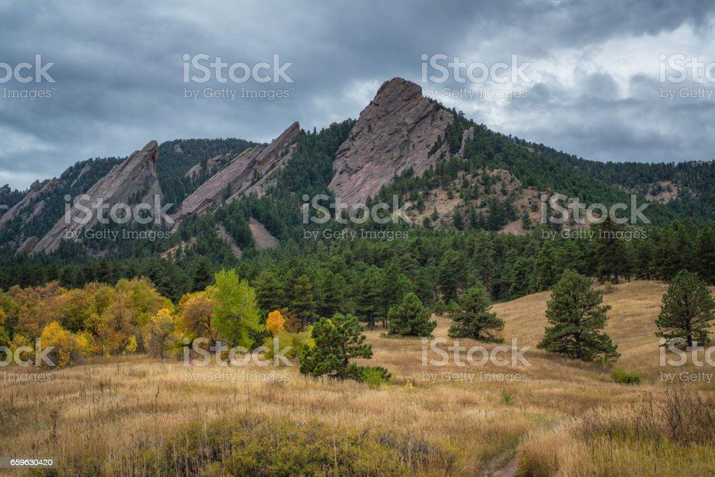 Flat Iron Mountain in autumn. stock photo