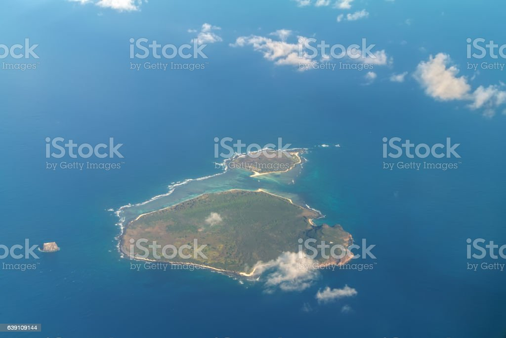 Flat Island and Gabriel Island in the Indian Ocean stock photo