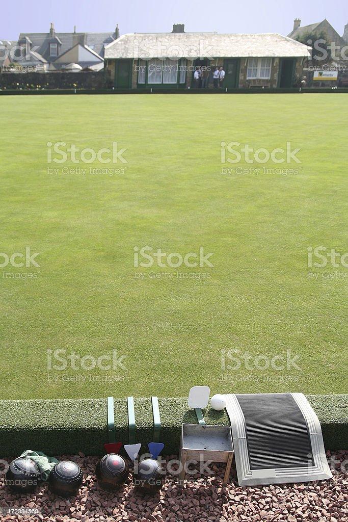 Flat Lawn Bowling Green stock photo