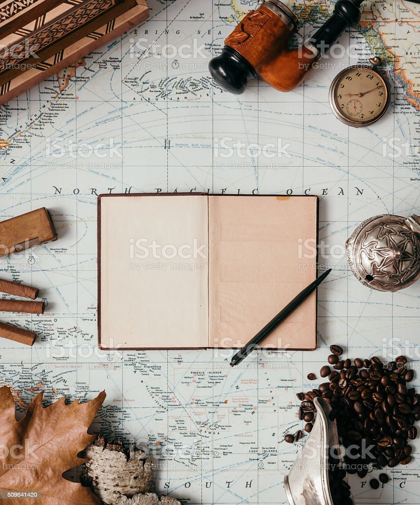 Flat Lay Adventure Vintage Gear stock photo