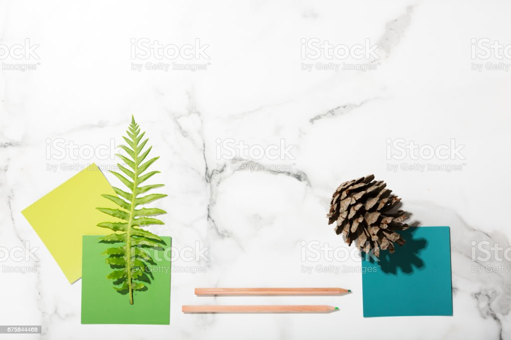 Flat lay interior mood board of color swatches, pencils, fern and pine cone stock photo