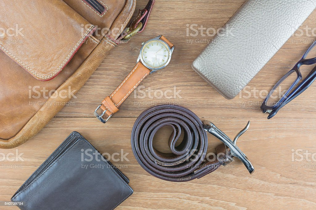 Flat lay leather for men. stock photo