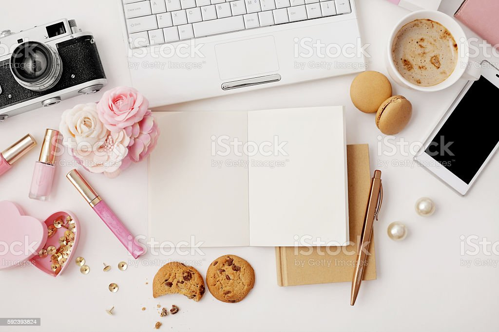 flat lay notebook and office accessories stock photo