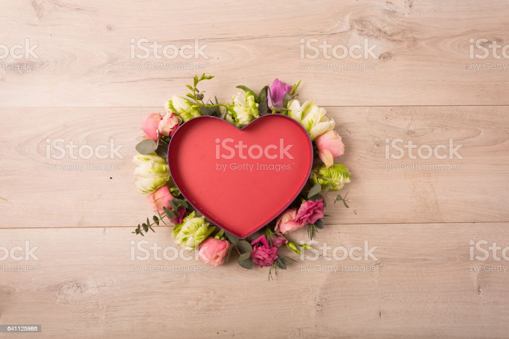 Flat lay of flowers and plants stock photo