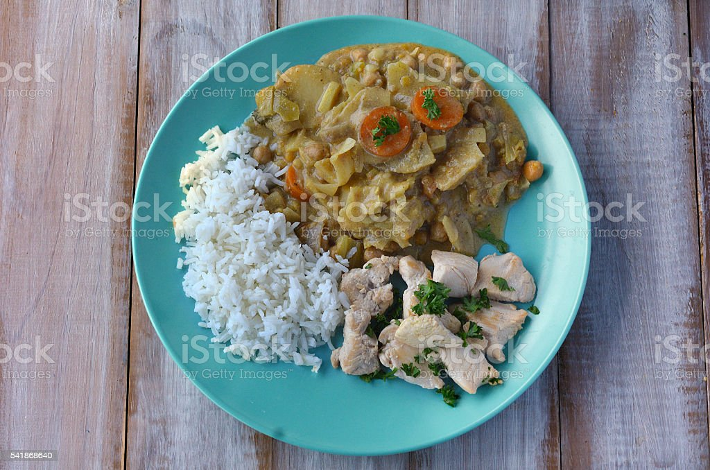 Flat lay of Indian chicken curry dish stock photo