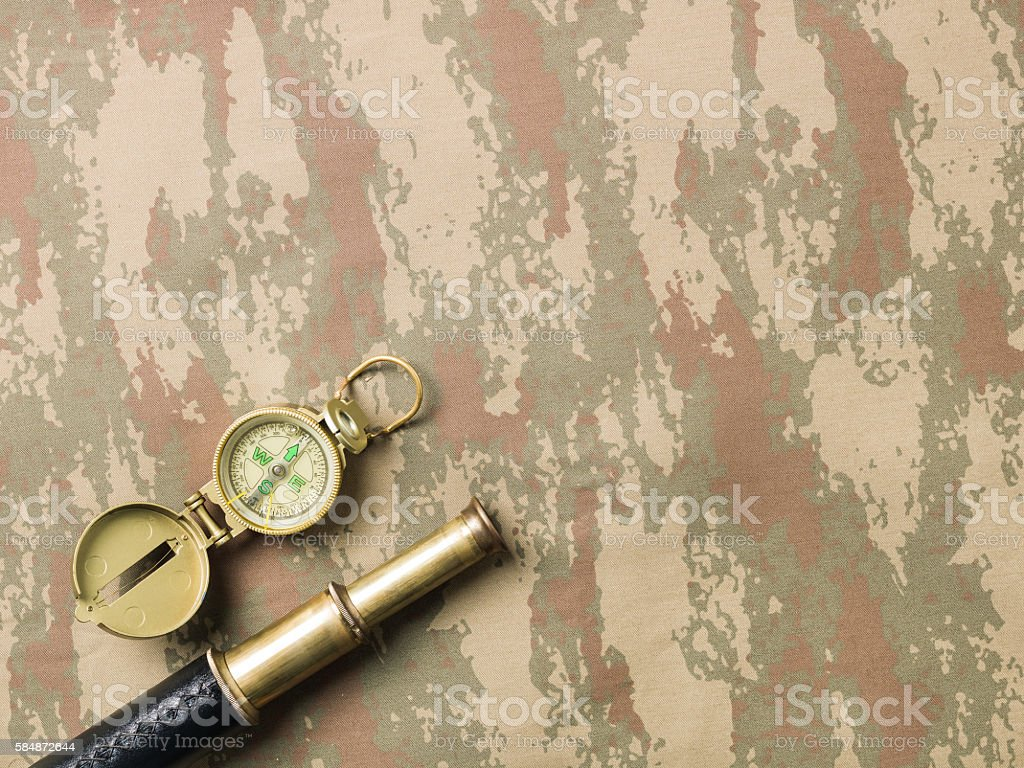 Flat lay Of Patriotism And Military On Camouflage Fabric stock photo