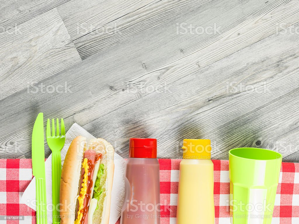 Flat Lay Of Picnic Table With Sandwich, Catchup,Mustard stock photo