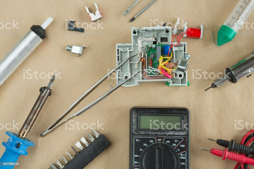 Flat lay of Tools for electrician Repair stock photo