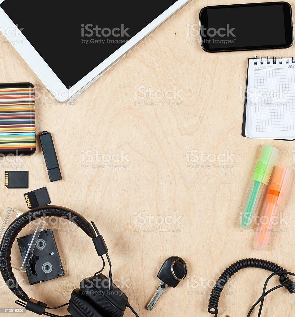 Flat lay office tools and supplies on wood background. stock photo