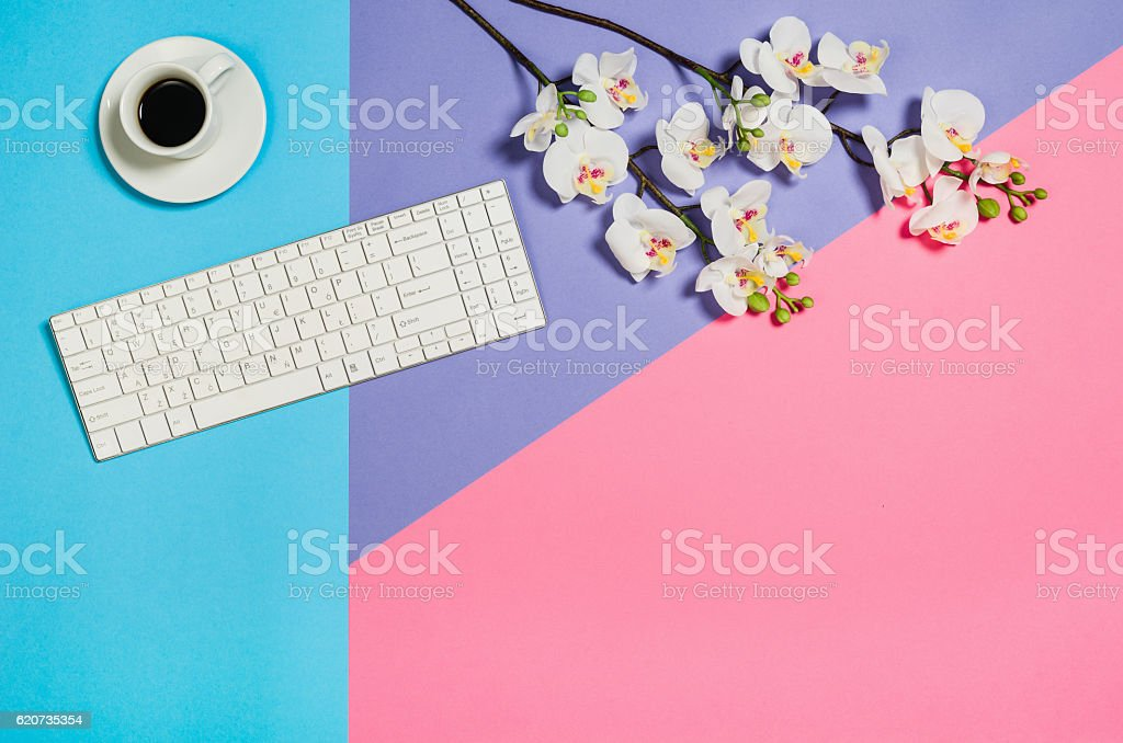 Flat lay photo of a business freelancer woman workspace desk with...