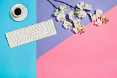 Flat lay photo of a business freelancer woman workspace desk