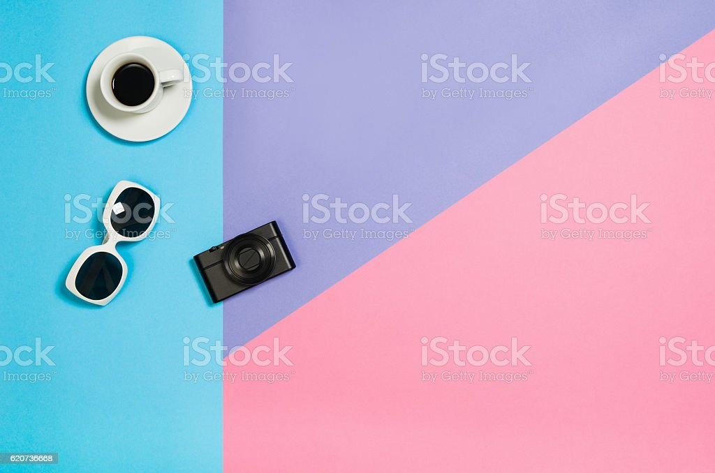 Flat lay photo of a business freelancer woman workspace desk stock photo