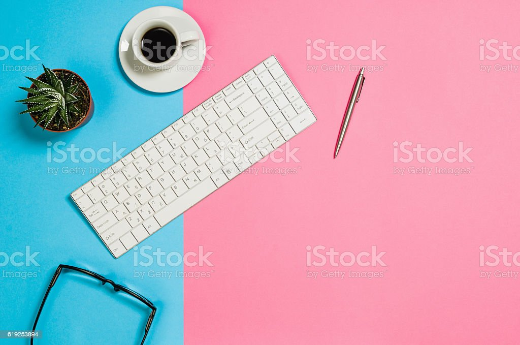 Flat lay photo of a creative freelancer woman workspace desk stock photo