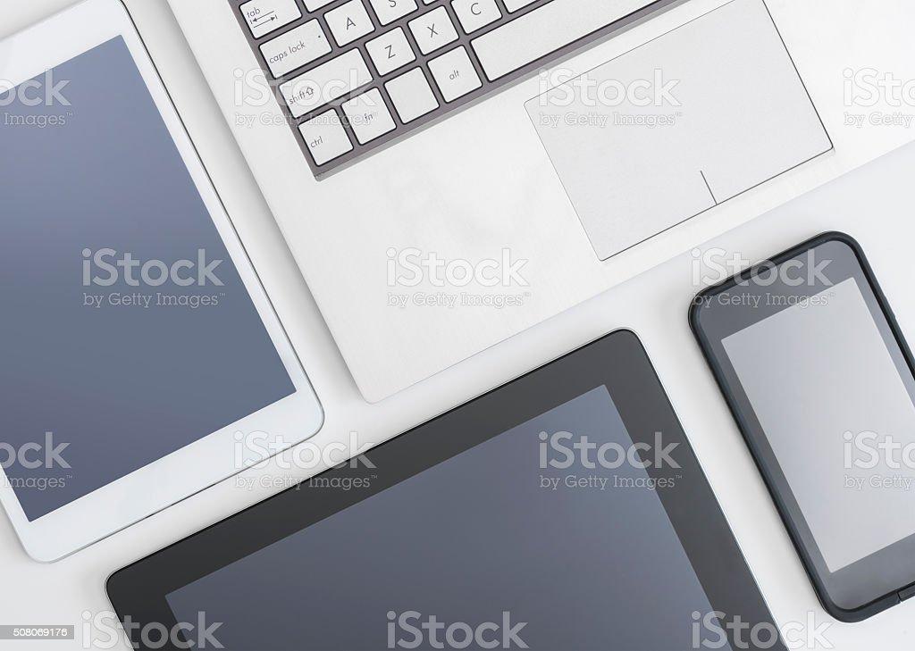 Flat lay photo of gadgets stock photo