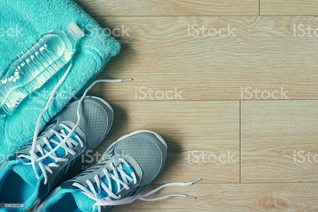 Flat lay photo of sports equipment stock photo
