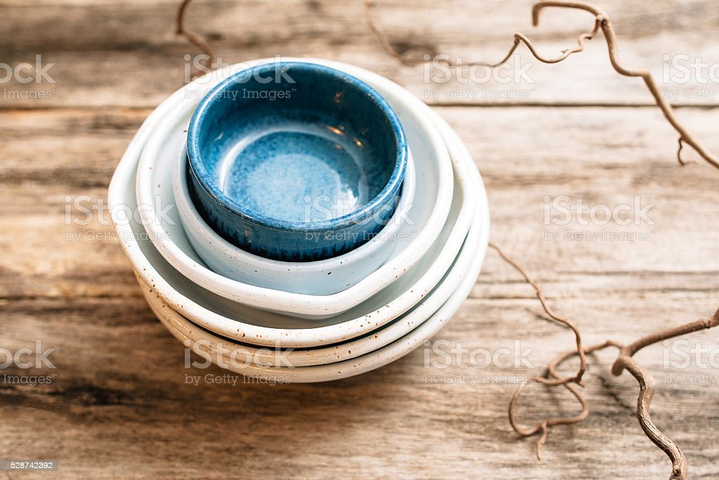 Flat lay set of handmade cute ceramics stock photo