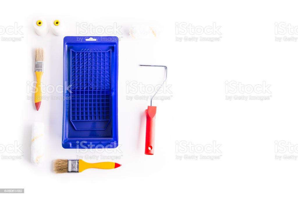 Flat lay shoot of whitewashing kit. stock photo