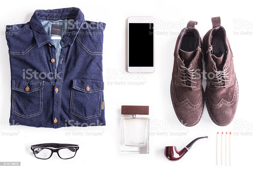 Flat lay shot of Hipster guide to perfection. Hipster accessories. stock photo