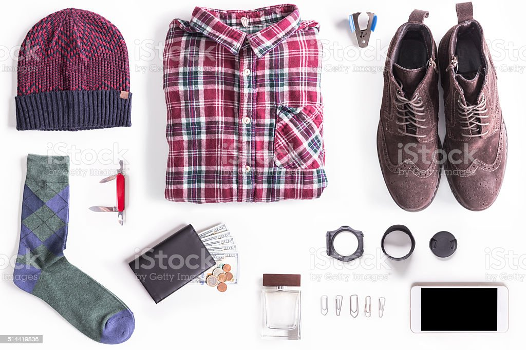 Flat lay shot of Lumbersexual style guide. stock photo