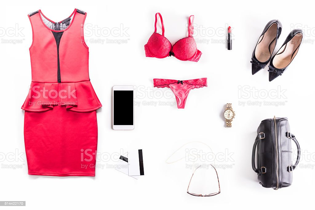 Flat lay shot of Sexy Date Night accessories. stock photo