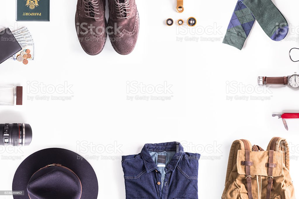 Flat lay shot of Traveler style guide. Traveler accessories. stock photo