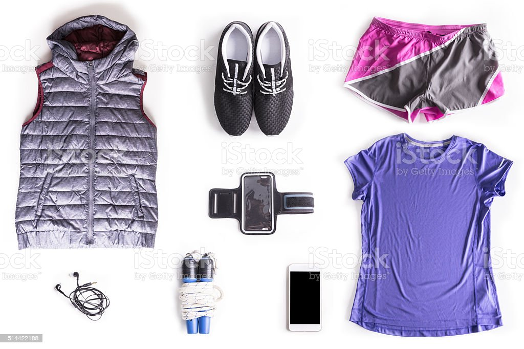 Flat lay shot of Woman exercise accessories stock photo