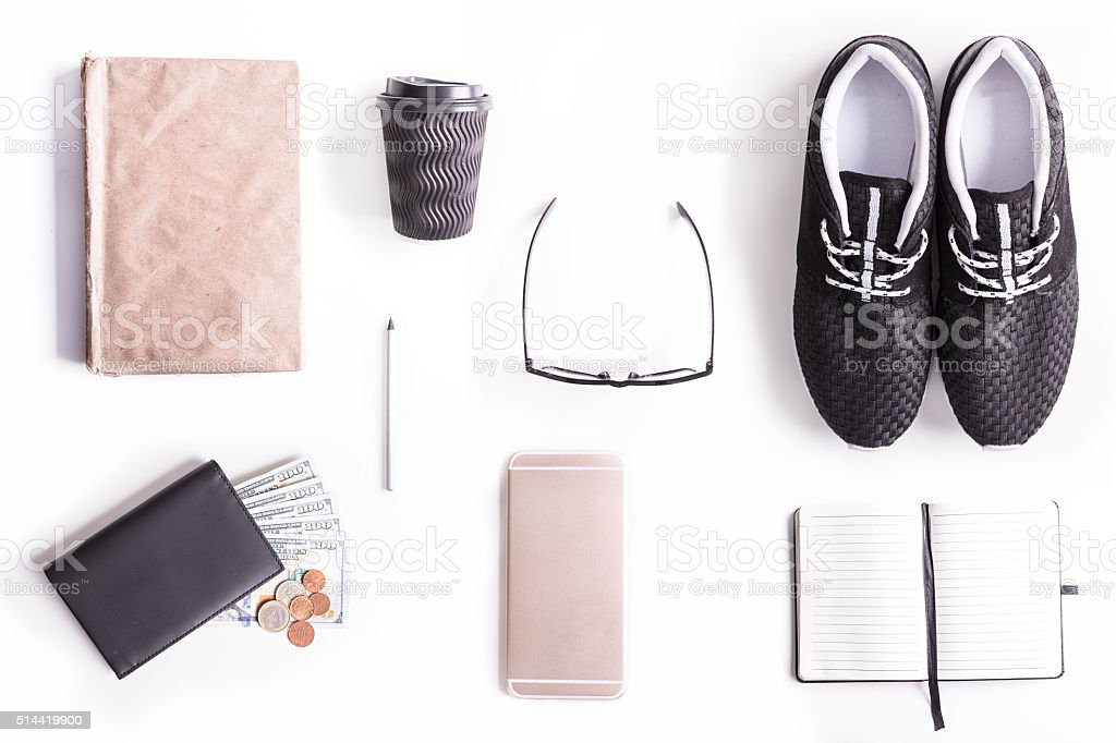 Flat lay shot of Writer's guide to perfection. stock photo