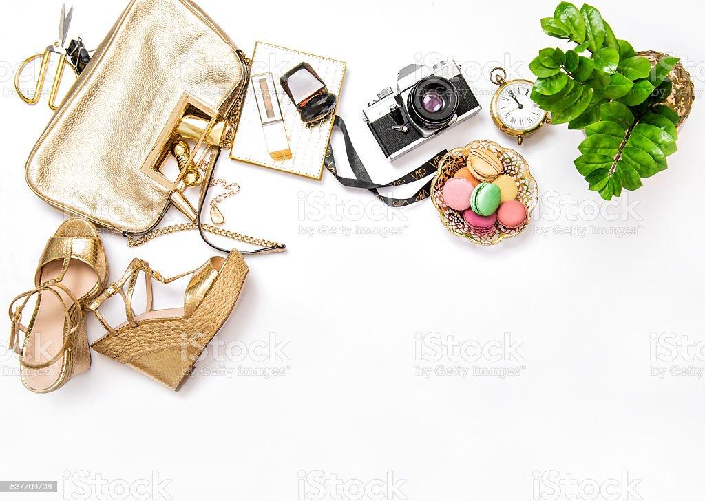 Flat lay social media fashion bloggers. stock photo