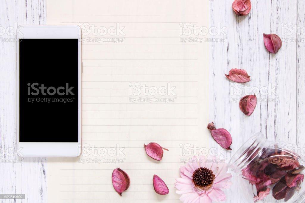 Flat lay stock photography purple flower petals glass bottle modern smart phone mock up stock photo