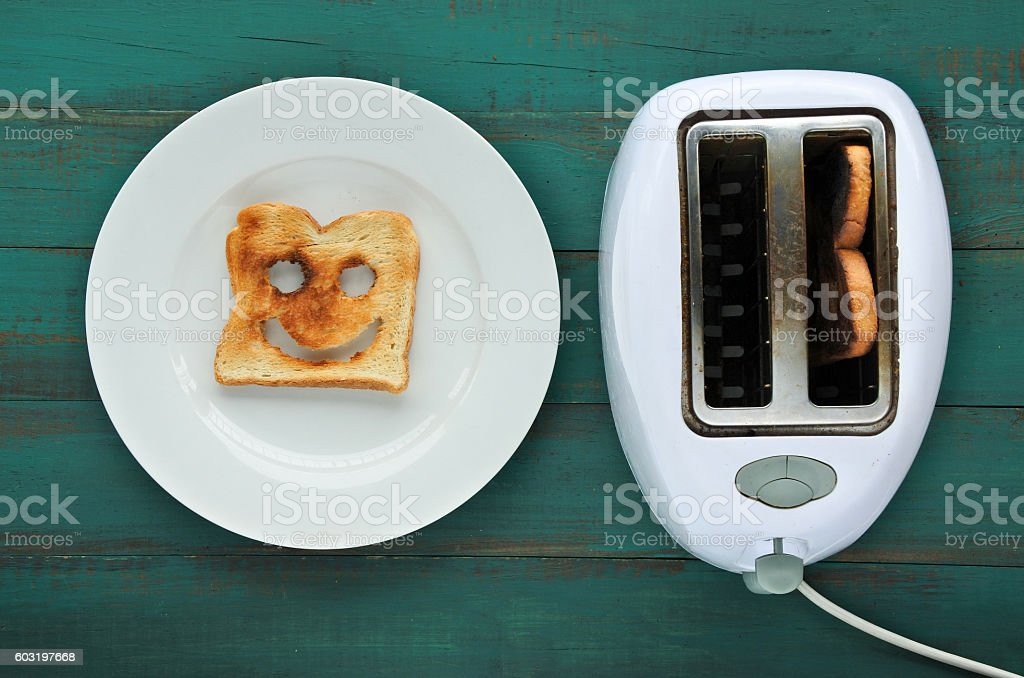 Flat lay view of one slices of  toast stock photo